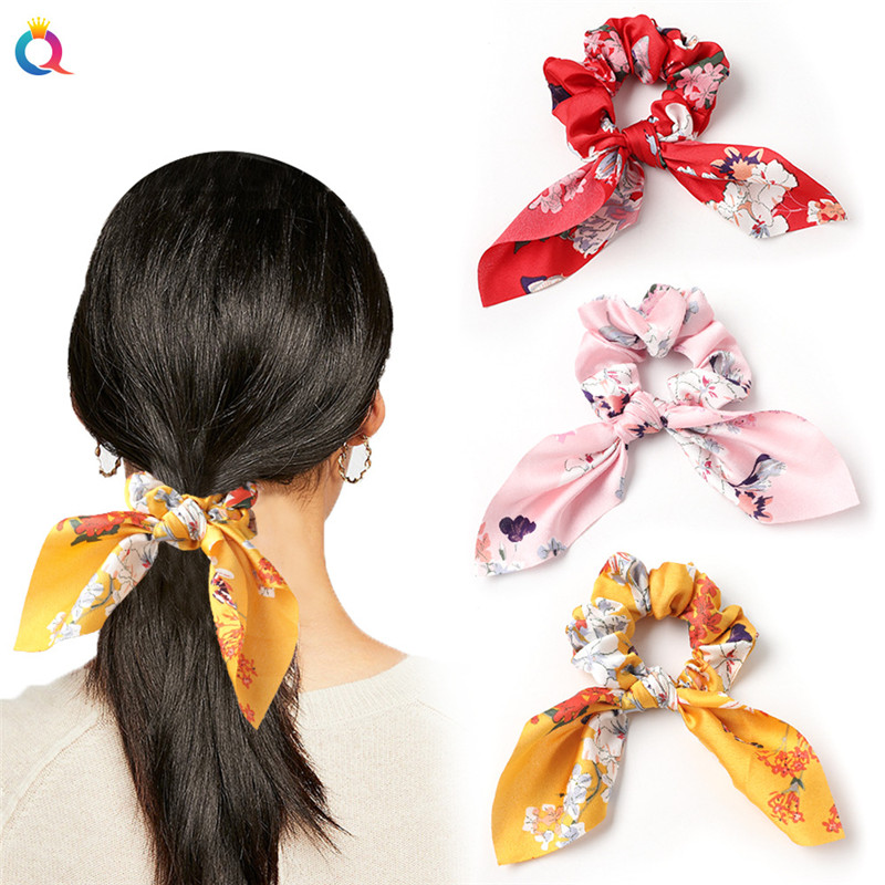Creative Satin Hair Ties Leopard Hair Ropes Knotted Rabbit Ear Scrunchies Long Streamer Ponytail Holder Female Hair Accessories(China)