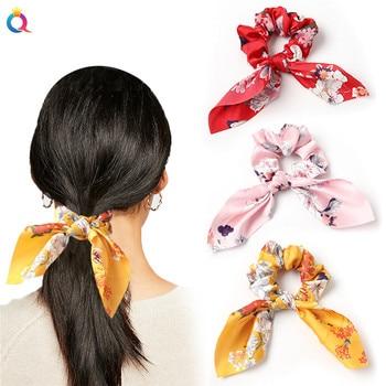 Lazos creativos de satén para el pelo cuerdas de leopardo para el pelo anudadas con orejas de conejo, coleteros largos, accesorios para cabello de mujer