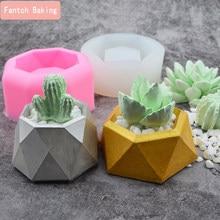 Etli bitkiler beton silikon kalıp 3D saksı aromaterapi sıva şamdan DIY çimento ekici Pot kalıp