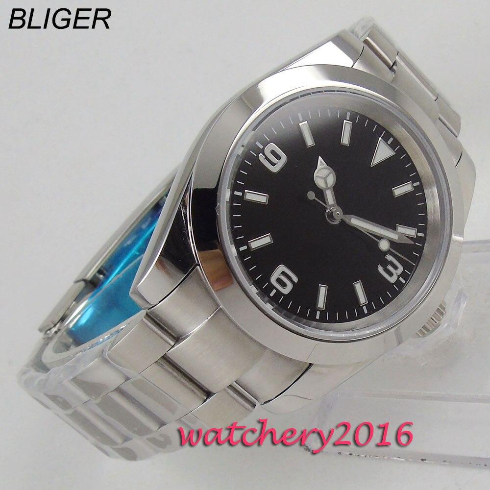 Saatler'ten Mekanik Saatler'de BLIGER 40mm siyah kadran aydınlık eller tam paslanmaz çelik otomatik hareketi erkek saati title=