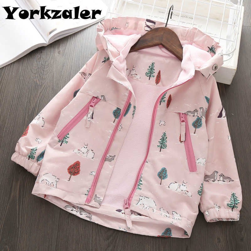 2019 Spring Baby Girls Windbreaker Long Sleeve Hooded Jackets Animal Printed Pink Coat for Kids Girl Clothes Jackets with Fleece