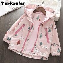 2019 primavera bebê meninas blusão manga longa casacos com capuz animal impresso rosa casaco para crianças roupas da menina jaquetas com velo