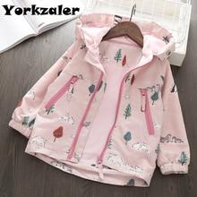 ¡Primavera 2019! Chaqueta rompevientos de manga larga con capucha para niñas. Abrigo rosa con estampado Animal para niñas. Chaquetas con forro polar