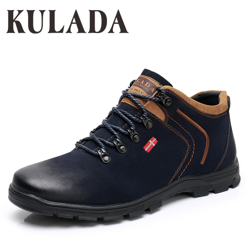 KULADA New Shoes Men's Ankle Boots Men's Zipper Side Casual Boots Top Quality Lace-up Men's Spring&Autumn Boots