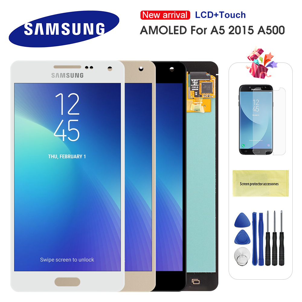 5.0'' Original AMOLED <font><b>LCD</b></font> For <font><b>Samsung</b></font> <font><b>Galaxy</b></font> <font><b>A5</b></font> 2015 <font><b>A500</b></font> A500F A500FU A500H A500M <font><b>LCD</b></font> Display Touch <font><b>Screen</b></font> Digitizer Assembly image