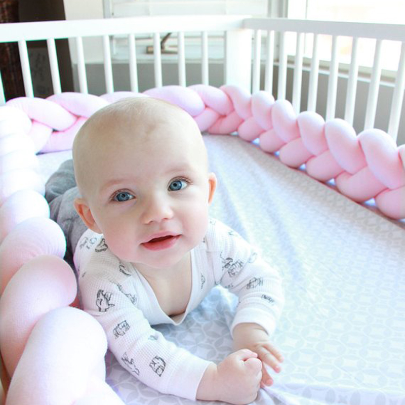 1M/2M/3M Mixed Colours Braided Crib Bumper Pillow Knot Cushion Bolster Pillow Kids Crib Bumper Pillow Nursery Decor Baby Bed
