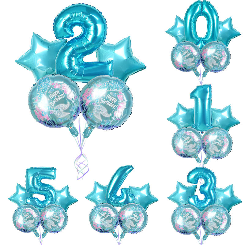 5Pcs Mermaid Theme Party Foil Balloons Little Mermaid Balloon Kids Birthday Party Decorations Mermaid Baby Shower Supplies