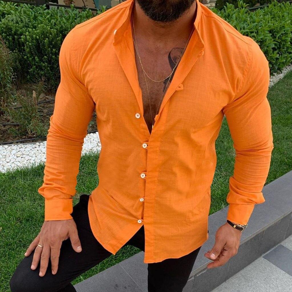 2019 Men Cotton Linen Blouse Long Sleeve Harajuku Casual Slim Fit Shirt Autumn Botton V-neck Shirts Male Fashion Solid Top