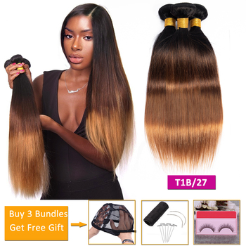 straight bundles T1b/4/30 blonde ombre human hair 3 bundles deals non-remy hair extensions Peruvian Brazilian hair weave bundles image