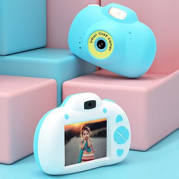 Nowy aparat fotograficzny dla dzieci aparat cyfrowy 2 4 #8222 HD Cute Cartoon dla dzieci aparat fotograficzny dla dzieci zabawki edukacyjne aparat urodziny prezent dla dzieci tanie i dobre opinie GOLDFOX Stała ogniskowa CN (pochodzenie) Rozpoznawanie twarzy Full hd (1920x1080) 4 3 cale 18-55 mm NONE 10 0-20 0MP Digital Camera for Kids