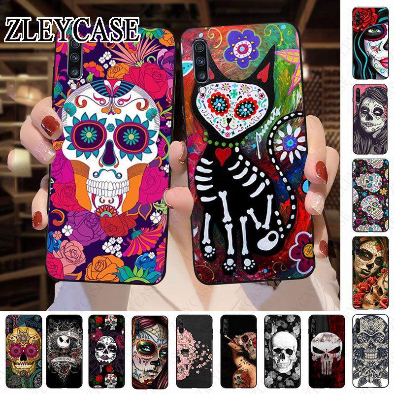 Mexican Skull Girl tattooed Art  Phone case For Samsung Galaxy A50 A10 A20 A20E A20S A30S A40 A51 A70 A30 A6 A7 A8 2018 Cover