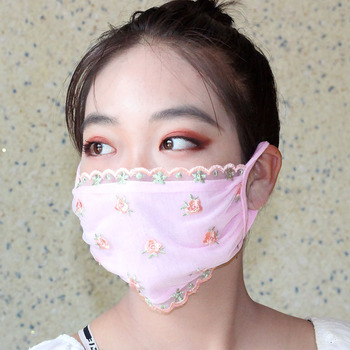 Women Floral Printed Mask Made With Lace Material For Travel Protection