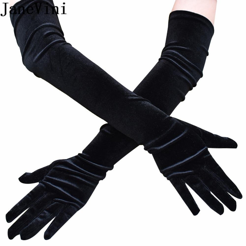 JaneVini 53cm Guantes Vintage Black Velvet Long Wedding Gloves Women Evening Party Banquet Ladies Bridal Gloves Lolita Robe Gant