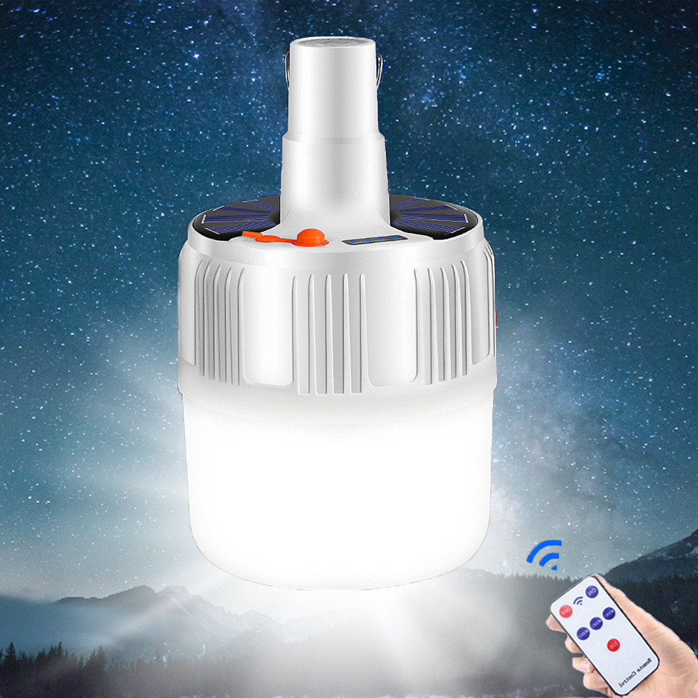 Rechargeable Bulb Lantern led Portable Camping Light Outdoor Solar Lights Lighting With Remote Control 60W 80W 100W Tent Lamp(China)