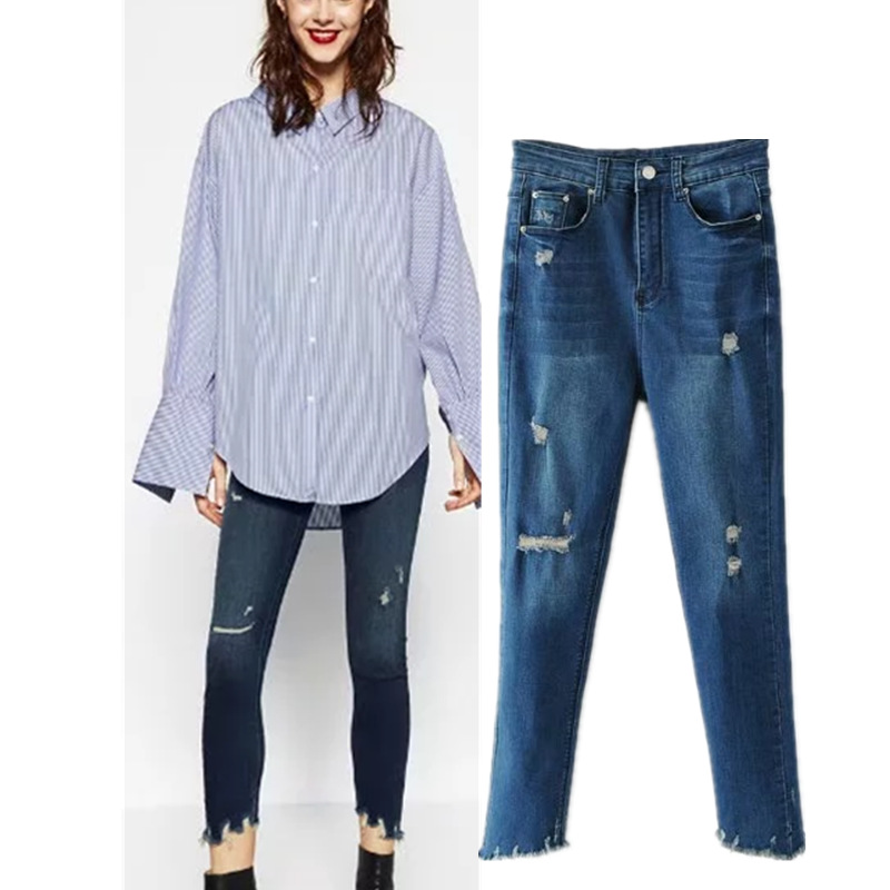 Summer New Style European And American Style Versitile Fashion Flash High-waisted With Holes Washing Jeans Trousers WOMEN'S Dres