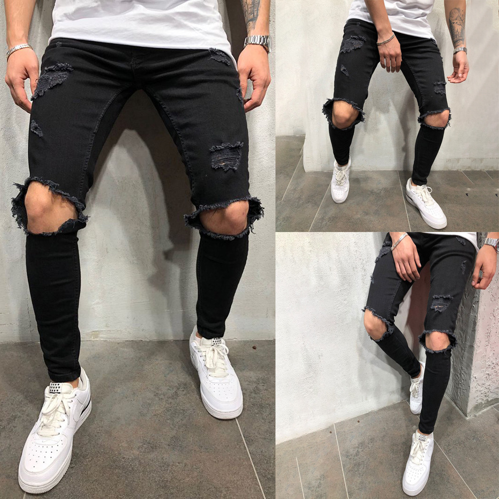 High Streetwear Men Knee With Holes Decor Black Jeans With Zipper Slim Fit Elasticity Skinny Ripped Pants Forward Men's Jeans
