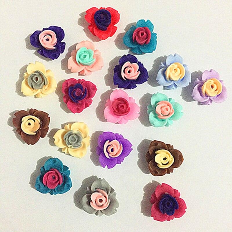 100Pcs 11mm rose Resin Flowers Decoration Crafts Flatback Cabochon For Scrapbooking Kawaii Cute Diy Accessories