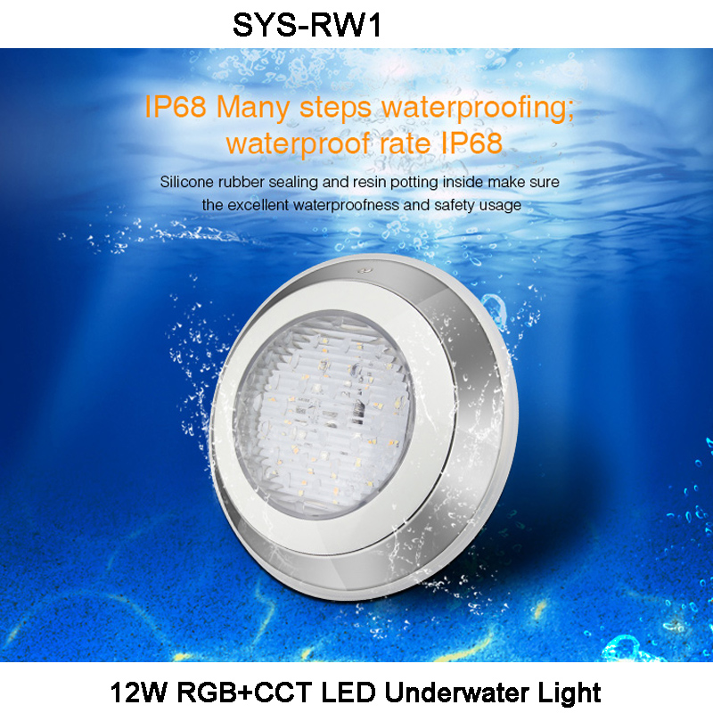 Miboxer DC24V 12W RGB+CCT LED Underwater Light Waterproof IP68 RGB+CCT Swim Pool Light,1 CH Host Controller,1 CH Signal Power