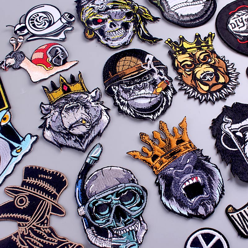 King Orangutan/Punk Patch Animal Embroidered Patches For Clothing Thermoadhesive Patches For Clothes Stickers Iron On Patch DIY