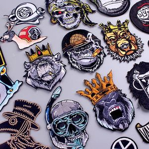 King Orangutan/Punk Patch DIY/Bear Patch Iron On Patches For Clothes Animal Embroidered Patches For Clothing Dog/Skull Stickers
