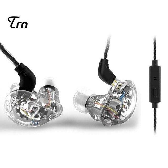 Nova marca trn v10 2dd + 2ba híbrido no ouvido fone de alta fidelidade dj monitor correndo esporte fone de ouvido earplug headplug com cabo 2pin trn v80