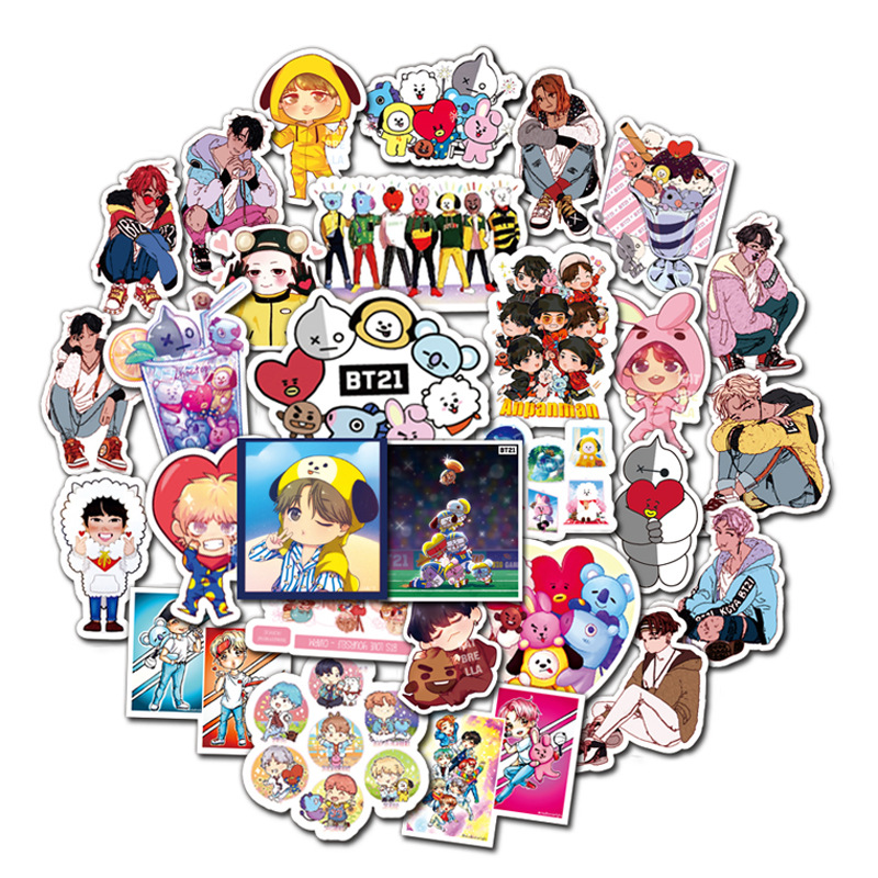50pcs BT21 Sticker Cartoon Lovely Sticker For Home Decor DIY Decal Stickers Luggage Laptop Skateboard Toy Diary Book Phone Car