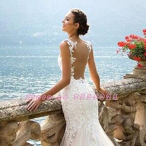Image 5 - Robe de Mariage 2020 See Through Back Luxury Mermaid Wedding Dresses China Sleeveless Vestidos de Novia Vintage Tulle Trouwjurk