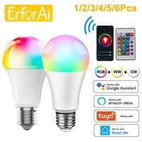 Bombilla inteligente E27 con WiFi, 15W, 18W, RGB + lámpara LED blanca, regulable, con APP Smart Life, Control por voz para Google Home y Alexa