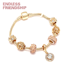 High Quaity Original European Gold Color Beads Bracelet Crystal Water Drop Charm Brand For Woman DIY Jewelry Gifts