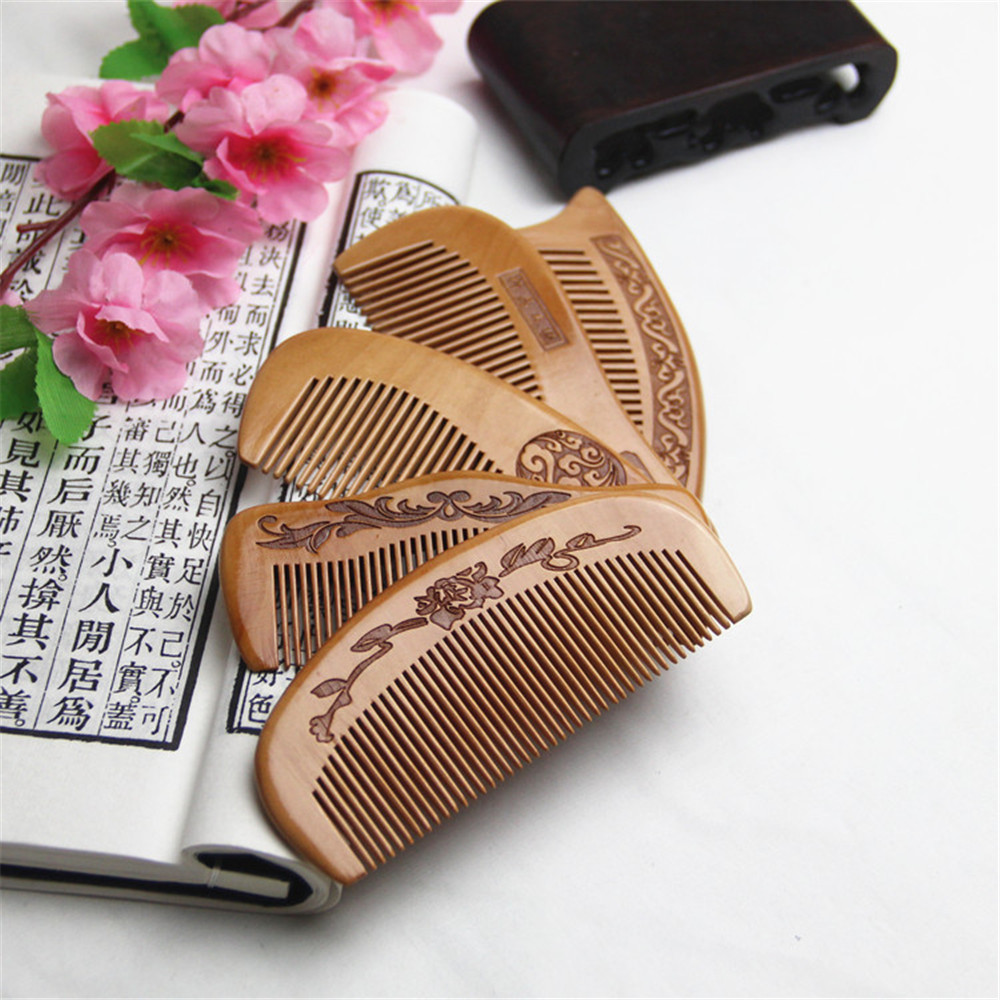 Natural Peach Wood Comb For Detangling Beard Head Massage Close Teeth Anti-static Hairbrush Hair Care Tools Suitable Travel