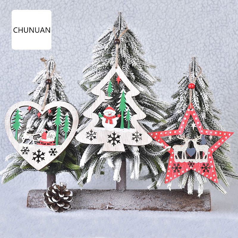 Merry Christmas Man Kids Gifts Ornaments Wreath Wall Decor Pendant Crafts New Year Window Plaque Xmas Home Decoration For Store