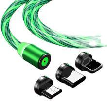 Hotest fluxo magnético iluminação luminosa carregamento cabo do telefone móvel cabo carregador fio para samaung led micro usb tipo c para iphone