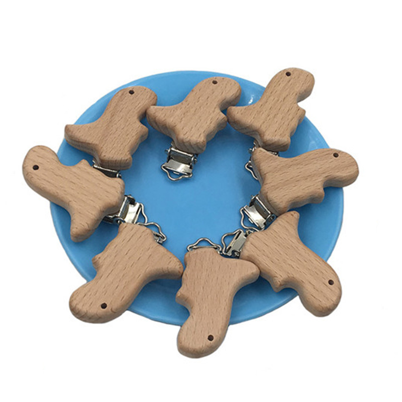 1Pcs Natural Beech Animal Dinosaur Shape Pacifier Clip Wooden Bead Baby Teether & Wooden Teething Accessories Clip Nipple Clasps