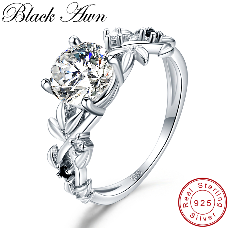 [BLACK AWN] 925 Sterling Silver Ring Classic Wedding Rings For Women Female Bijoux Flower Sterling Silver Jewelry G089