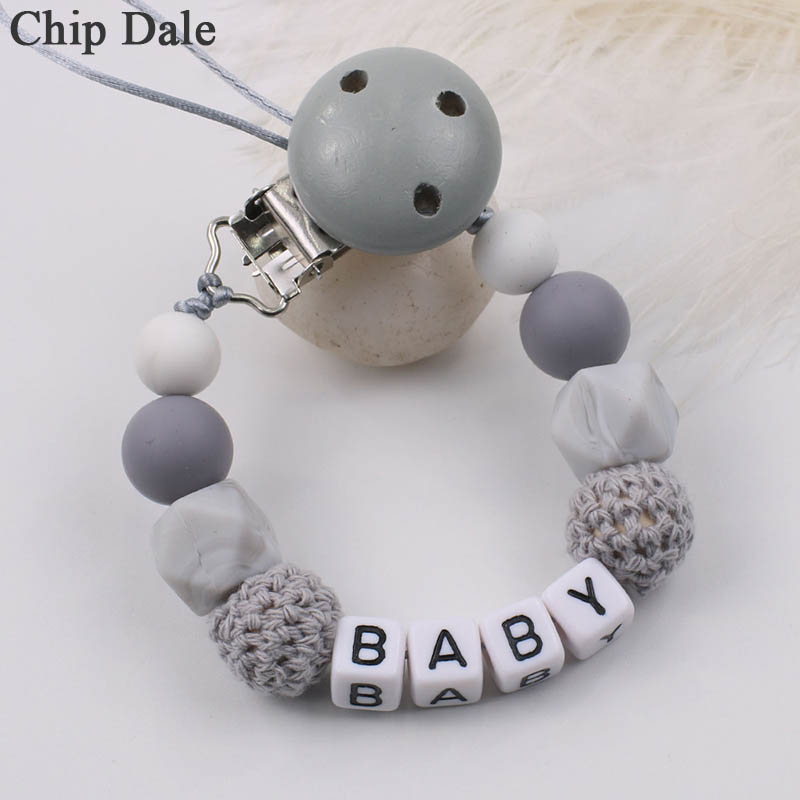 Chip Dale Personalized Name Silicone Baby Pacifier Clips DIY Pacifier Chain For Baby Teething Soother Chew Toy Dummy Clip Holder
