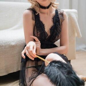 Image 5 - חדש סקסי V צוואר נשית כותונת פרספקטיבת פיתוי תחרה מוצק צבע חתונת כותנות לילה פיות קפלים שמלת שינה