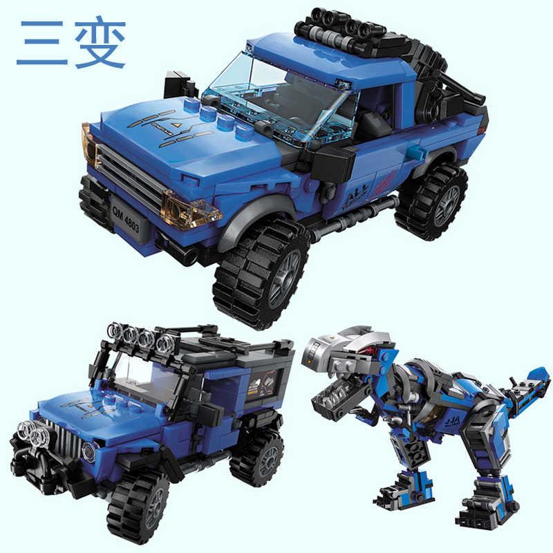 3 ב 1 בורא תואם עולם דינוזאור אבני בניין פרק ילדים צעצועי דינו suv משאית טכני מחוץ לכביש טנדר רכב