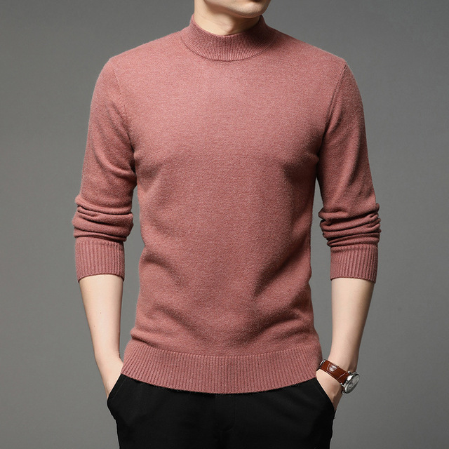 2020 Autumn and Winter New Men Turtleneck Pullover Sweater Fashion Solid Color Thick and Warm Bottoming Shirt Male Brand Clothes