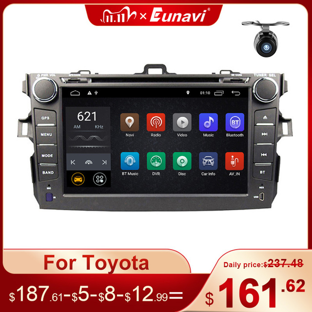 Eunavi 2 Din Android 10 TDA7851 Auto Dvd Multimedia Voor Toyota Corolla 2007 2008 2009 2010 2011 Gps Stereo Radio pc Touch Screen