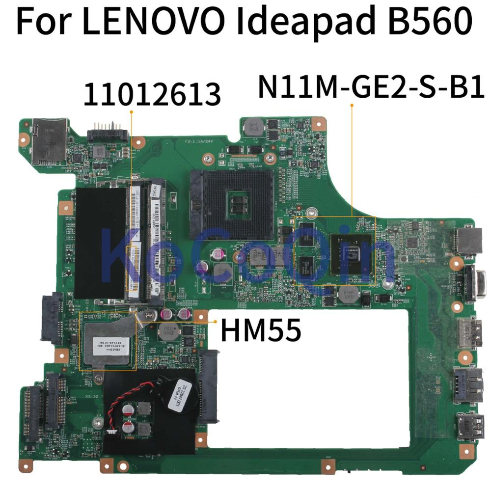 KoCoQin Laptop Motherboard For LENOVO Ideapad B560 HM55 Mainboard 11012613 10203-1 LA56 MB 48.4JW06.011 N11M-GE2-S-B1
