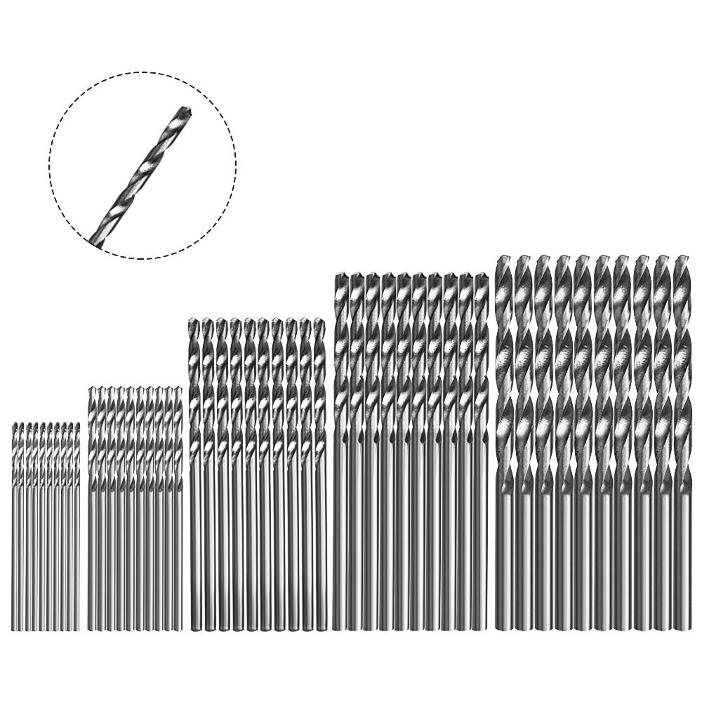 NICEYARD 50 Pcs High Speed Steel Drill Bits HSS 4241 1/1.5/2/2.5/3mm Power Tool Accessories Titanium Coated Drill