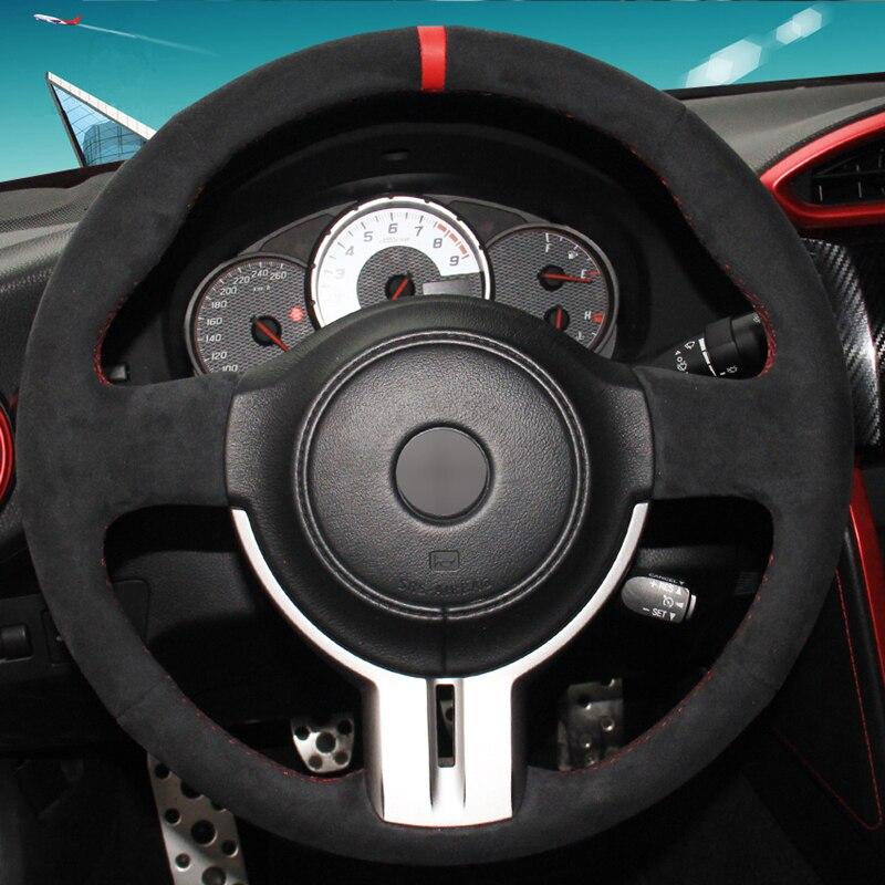 Cubierta del volante del coche cosido a mano de gamuza negra para Toyota 86 Subaru BRZ