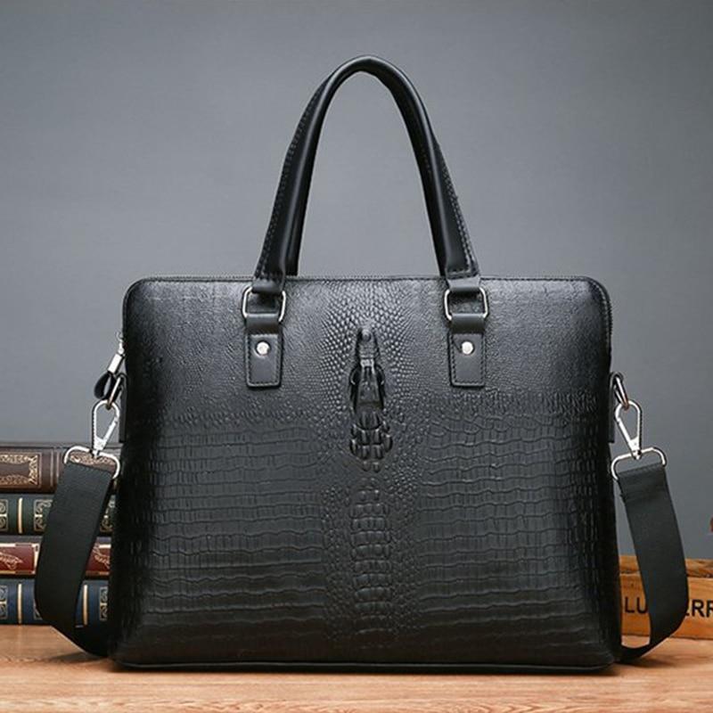 Briefcase Tools Male Handbag Business Genuine Leather Men Messenger Computer Office Bag Sac Homme Luxury Handbags Polo Crocodile