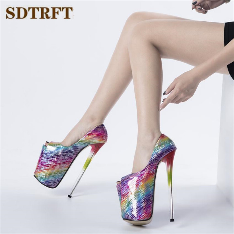 SDTRFT <font><b>Pumps</b></font> Ladies Platform <font><b>Sandals</b></font> woman 22cm Thin <font><b>high</b></font> <font><b>heels</b></font> zapatos mujer Stiletto Crossdresser Flowers shoes Eur 34-46 47 image