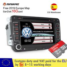 TOPSOURCE 7 2 din Car DVD GPS free 16G SanDisk radio stereo player for Volkswagen golf 6 passat b6 B7 Touran polo Tiguan seat l
