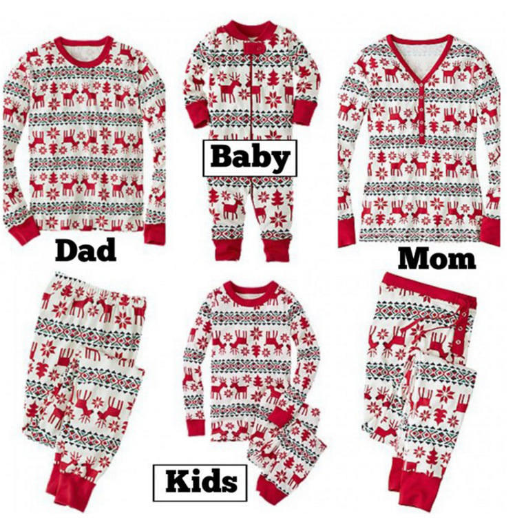 LOOZYKIT Family Christmas Pajamas Set Clothes Adult Kid Nightwear Clothes Baby Romper Santa Claus Family Matching Look Sleepwear