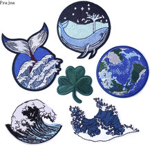 Prajña Wave Whale Patch Ijzer Op Geborduurde Patches Voor Kleding Streep Foto Hippie Stickers Patches Op Kleding Versmachten Applique(China)