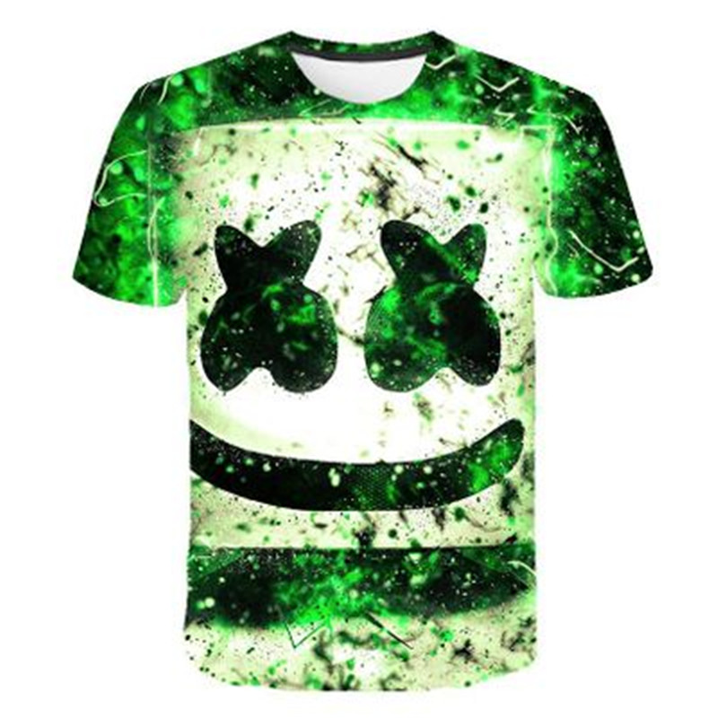 4-14 Years 2019 Summer Kids Fashion Music DJ marshmallow 3D Printed T-shirt Children Party T shirt Boys/Girls Cartoon Tshirts