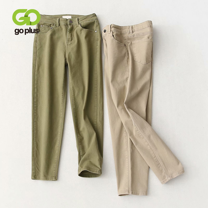 GOPLUS New 2020 Spring Green Khaki Plus Size Jeans Women's High Waist Mom Jeans Loose Casual Straight Pants Vaquero Mujer C9865