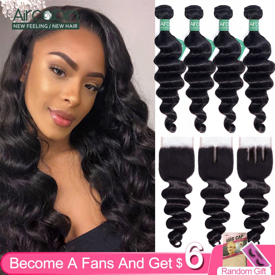 Aircabin Loose Deep Wave Bundles With Closure Brazilian 100 % Remy Human Hair Weave 3/4 Bundles Swiss Lace Closure Can Be Dye(China)